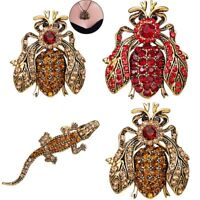 Charm Women Crystal Spider Bee Animals Brooch Pin Pendant Necklace Chain Jewelry