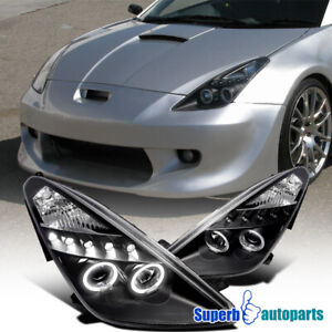 For 2000-2005 Toyota Celica Dual Halo Projector Headlights Black
