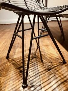 Industrial Diining Chair Rustiic Metal Wire Seat Vintage Retro Style Kitchen