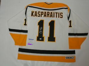 DARIUS KASPARAITIS SIGNED CCM PITTSBURGH PENGUINS JERSEY PSA COA PROOF LICENSED