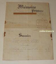 FACTURE de 1924 de DUPRE Entrepreneur de PEINTURE à CLICHY + TIMBRE FISCAL 25 c