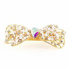 WOMENS PEARL BARRETTE Rhinestone Crystal Hair Clip Hairpin Elegant Gold AB 3-6