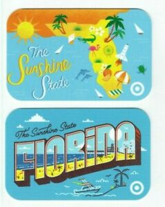 Target Gift Card LOT of 2 Different - Florida - The Sunshine State - No Value