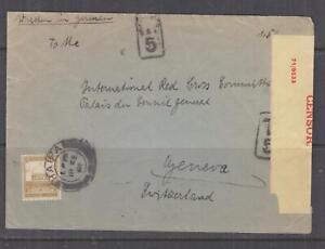 PALESTINE, 1941 Censored cover to Red Cross, Switzerland, 13m. HAIFA, Taxed 5