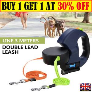 Retractable Dog Lead Pet Extendable Double-Head Leash Puppy Training Walking Y