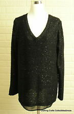 Apt 9 Black Sweater & Sequins Womens Plus Sz 1X V-Neck Long Sleeve Lined New