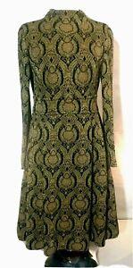 60s Dress Women's M By Kimberly Wool and Metallic Gold and Black Jacquard Knit