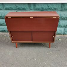 Vintage Mid Century Modern Sliding Door Cabinet Wing Table Book Case