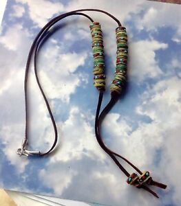 Tibetan Clay Beads on Chocolate Lambskin Lariat Necklace Silver Hook Closure