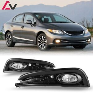For Honda Civic 13-15 Clear Lens Pair Fog Light Lamp+Wiring+Switch Kit