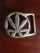 Vintage 1970s Unique Marijuana belt buckle solid brass cast