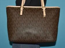 "MICHAEL KORS ""JET SET TRAVEL"" Signature Coated Canvas Leather Tote Purse Bag"