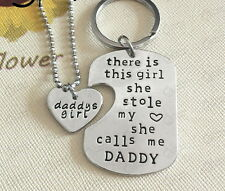 Father Daughter Stole My Heart Calls Me Daddy's Little Necklace Keychain DAY