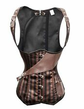 Bslingerie Brown Faux Leather Striped Openbust Corset (M, Brown)