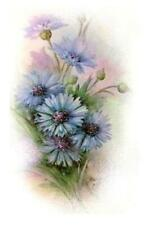 Fired Decals - Miniature for Half Dolls and other small items - Blue Stokesia