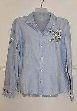L'Argentina Hemd Bluse Baumwollhemd Damenbluse mit Stickerei Gr.40 w Neu blau