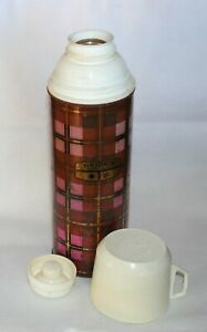 Vintage THERMOS vacuum flask metal pink check glass liner ENGLAND