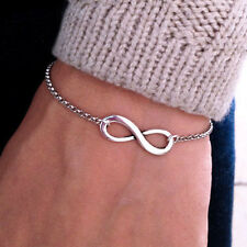 Argent Infinity Chain Charm Bracelet bijoux simples de cadeau de femmes animés~