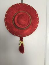 Disney-Pixar-Toy-Story-Jessie-Cowgirl-Hat-Red-Sparkly--Gold-Trim-Attached-Braid