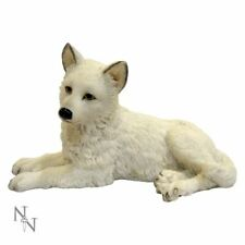 Snow White Winter Wolf Laying Pup Ornament Figure