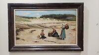 Antique Large 1883 Alma Broadbridge Oil on Canvas Painting, British