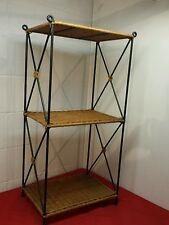 3 Tier Wicker and Metal Shelves
