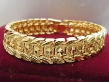 Elegant 14ct 9ct Yellow Gold Daimond Cut Band Soild Womens Mens Bracelet 18.5cm