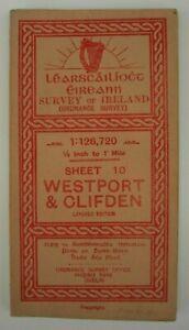 "Ordnance Survey Cloth Map of Ireland 10 Westport & Clifden 1/2 "" to 1 mile 1914"