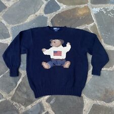 90s vintage navy POLO Ralph Lauren teddy bear USA flag print sweater top Mens L