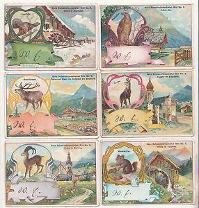 Konvolut Kaufmannsbilder Serie Schweizerlandschaft Bild 1 - 6 um 1900 (A1907