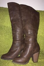 Forever 21 Distressed Brown Faux Leather Knee High Boots 7 Sexy GUC!!