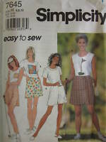 7645 Vintage Simplicity SEWING Pattern Misses Top Skort Easy UNCUT OOP SEW FF