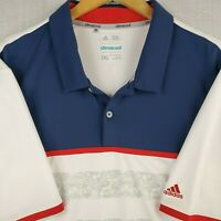 ADIDAS CLIMACOOL Size 2XL Mens Red/White/Blue Golf Casual Polo Shirt Breathable