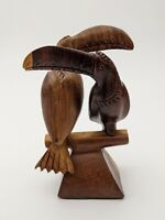 Vintage Carved Wood Toucans on Perch, Hawiian, Tiki, Tropical