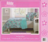 3 Pcs Twin size Kids Boys & Girls Bed set, Quilt+Sham+Decorative Pillow - FLAKES