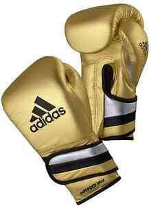 adidas AdiSpeed Pro Boxing Gloves Leather Metallic Gold Fight Sparring