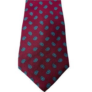 Traditionalist Men's Neck Tie Maroon Burgandy Leaf Drop Pattern 100% Silk