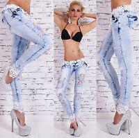 Sexy Women's Denim Light Blue Skinny Jeans Crochet Lace Ripped Jeans Size 6-14