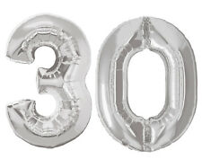 16 inch 30 Silver Number Balloons 30th Birthday Party Anniversary Foil Balloon