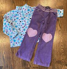 Hanna Anderrson Fleece Top Mini Boden Purple Heart Pants Set 5 6 Euc