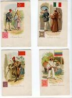 France, 19xx. Kunzli Freres   postcards with mail carriers from 13 diff. country