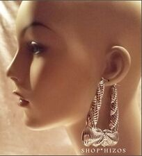"LARGE 4"" SILVER RETRO CHUNKY TRAPEZOID BAMBOO DOOR KNOCKER 80's HOOP EARRINGS"