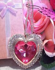 Betsey Johnson Necklace Long Pink Crystal Heart Pendant
