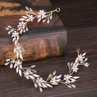 Leaves Headband Crystal Beads Wedding Hair Jewelry for Women Headpiece Handmade