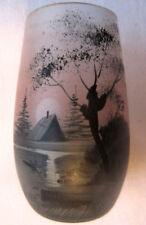 RARE vase miniature Paysage lacustre en grisaille sur verre teinté, Peynaud?