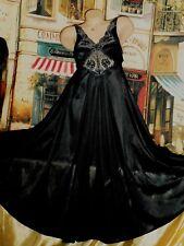 Usa Xs Sm VinTage Vandemere Olga Hug Style Long Gown Black Huge Dramatic Sweep