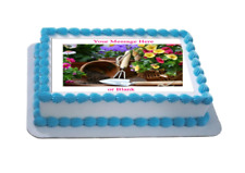 Novelty Personalised Gardening Scene (A) A4 Edible Icing Cake Topper birthday