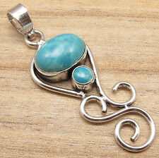 COMBINED SHIPPING 925 Silver Plated Simulated LARIMAR HANDMADE Pendant