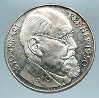 1970 AUSTRIA with Politician Karl Renner Antique Silver 50 Schilling Coin i84205