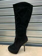 CLEARANCE SALE Ladies Platform Black Size 8 Knee Calf High Stiletto Heel Boots